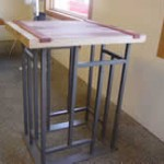 Reclaimed Redwood Wine Cellar Table, Indeco custom metal work