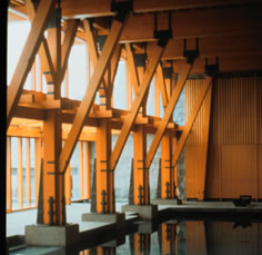 Reclaimed DF Columns, A House on a Lake, James Cutler - Peter Bohlin Joint Venture